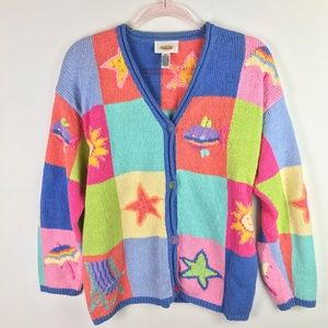 Cute Knit Colorful Cardigan Sweater